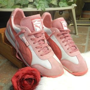 RARE puma light pink white coral suede sneakers 9